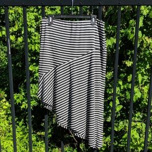 Asymmetrical black and white striped skirt